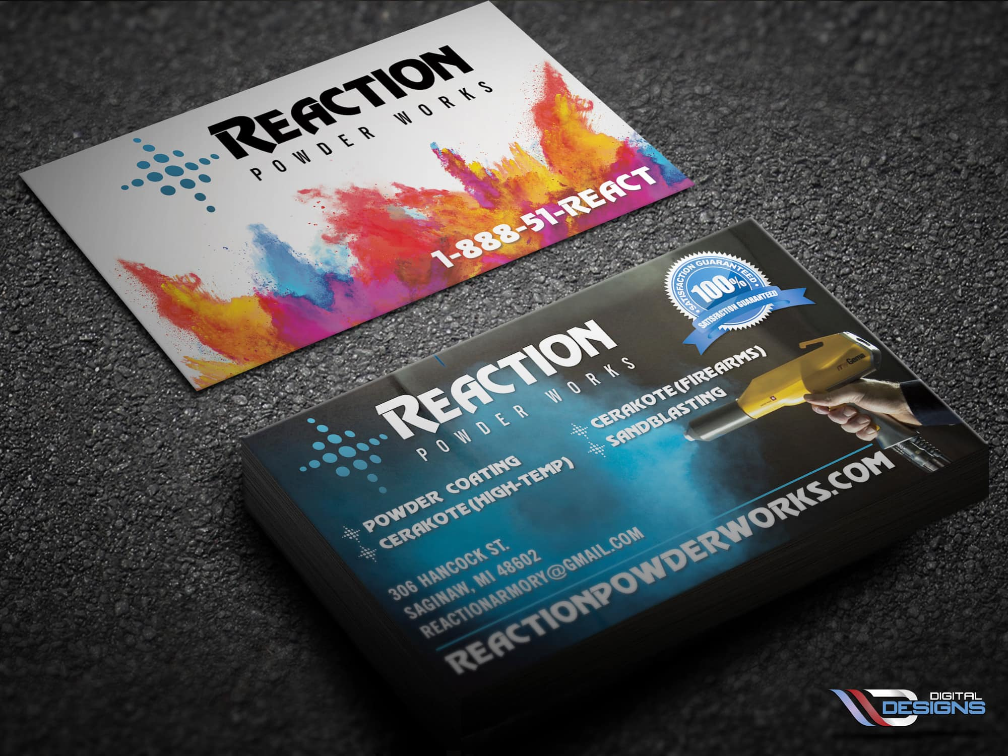 New Business Cards for Reaction Powder Works